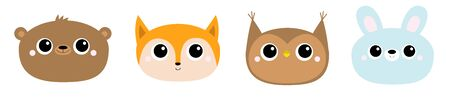 Fox owl bear hare rabbit. Forest animal round face head icon line set. Cute cartoon funny baby character. Kids education cards. Flat design. White background.