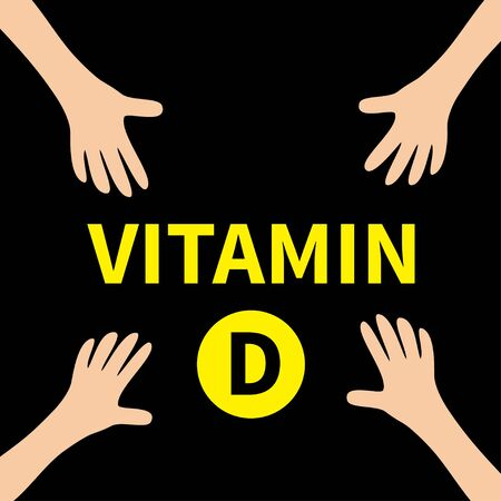 Four hands reaching to Vitamin D round pill icon. Yellow color. Healthy lifestyle diet concept. Fish oil supplements. Flat design.