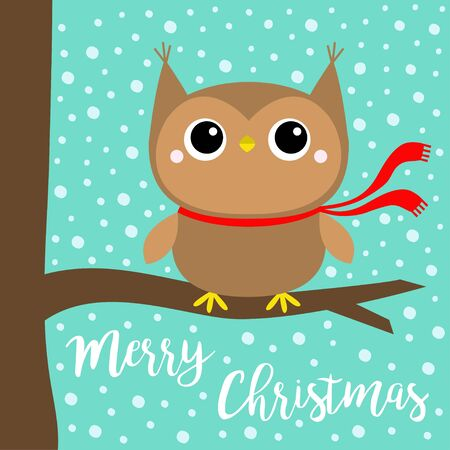 Merry Christmas. Owl bird wearing red scarf. Cute cartoon  funny baby character sitting on tree branch. Snow flake blue background. Greeting card. Flat design.