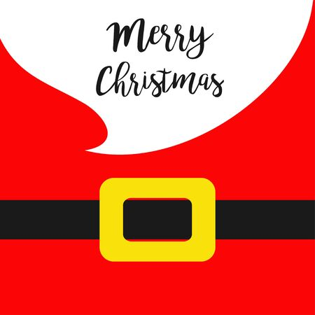 Merry Christmas. Santa Claus yellow belt. White big beard. Costume. Cute cartoon character belly. Greeting card. Red background.