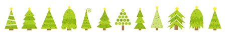 Merry Christmas Fir tree icon line set. Round ball light bulb. Yellow star. Cute cartoon green different triangle simple shape form. 矢量图像