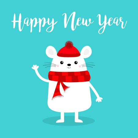 Happy New Year. White mouse waving hand. 2020 sign symbol. Merry Christmas. Cute funny cartoon baby character. Red scarf, hat. 向量圖像