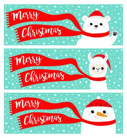 Merry Christmas banner set. Alpaca llama Bear Snowman. Santa Claus red hat, scarf. Cute cartoon funny kawaii character. Happy New Year. Greeting card. Flat design. Blue snow flake background. Vector