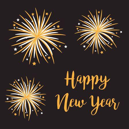 Feliz Año Nuevo. Conjunto de brillo de estrellas de fuegos artificiales. Luz de galleta. Color dorado. Explosión de petardo festivo. Diseño plano. Dorado y blanco. Fondo negro. Ilustración vectorial Ilustración de vector