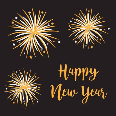 Happy New Year. Fireworks Star sparkle set. Cracker light. Golden color. Festive firecracker burst. Flat design. Gold and white. Black background. Vector illustration Vector Illustration