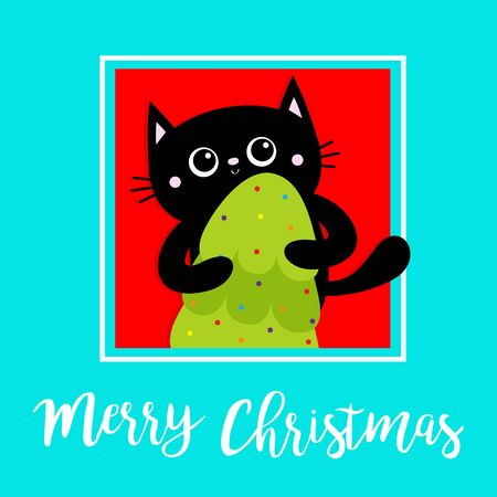 Merry Christmas. Black cat holding fir tree. Kitty kitten standing. Funny Kawaii animal. Kids print. Cute cartoon baby character. Pet collection. Flat design Blue green background. Vector illustration  イラスト・ベクター素材