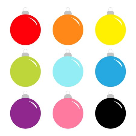 Christmas ball set. Cute colorful rainbow round bauble toy set. Happy New Year sign symbol. Flat design style. White background. Isolated. Vector illustration  イラスト・ベクター素材