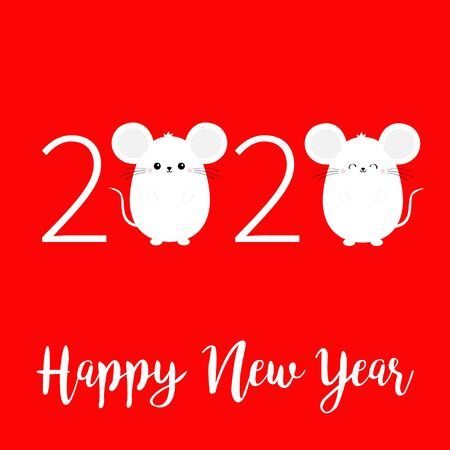Two white mouse set. Happy New Year 2020 sign symbol. Merry Christmas. Cute cartoon funny kawaii baby character. Flat design. Red winter background. Vector illustration  イラスト・ベクター素材