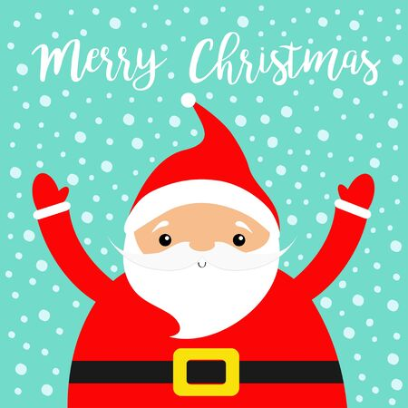 Merry Christmas. Santa Claus costume, red hat, beard, golden belt. Cute cartoon kawaii funny character face, hand. New Year. Baby collection. Greeting card. Blue snow flake background. Vector