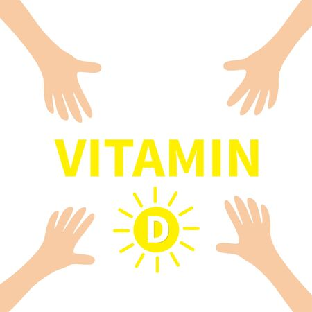 Hands reaching to Vitamin D sun shape pill icon. Yellow color. Healthy lifestyle diet concept. Fish oil supplements. Flat design. White background. Isolated. Illustration