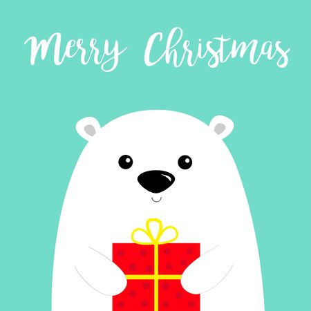 Merry Christmas. White polar bear cub face holding gift box present. Happy New Year. Arctic animal. Cute cartoon baby character. Flat design Hello winter. Blue background. Vector  イラスト・ベクター素材