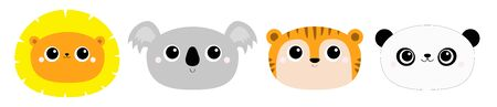 Panda bear Lion Koala Tiger round face head icon set. wild animal. Cute cartoon character. Funny baby kids print. Love Greeting card.