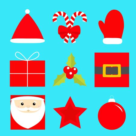 Merry Christmas New year icon set. Star, Santa Claus, holly berry, ball toy,gift box, candy cane with bow, golden belt, red hat,mitten.