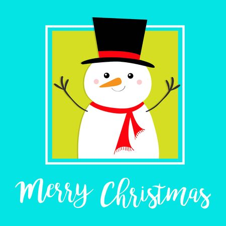 Merry Christmas. Snowman holding hands up. Carrot nose, black hat. Happy New Year. Cute cartoon funny kawaii character. Greeting card. Isolated. Blue green winter background. Flat design. Vector