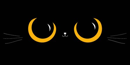 Black cat big yellow eyes. Moustaches, nose head face. Cute cartoon character. Baby pet animal collection. Happy Halloween. Flat design. Black background. Vector illustration  イラスト・ベクター素材