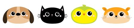 Parrot Dog Black Cat Hamster bird head face round icon set. Kitty kitten. Funny Kawaii animal. Big eyes. Kids print. Cute cartoon baby character. Pet collection. Flat design. White background. Vector