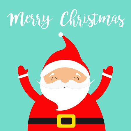 Merry Christmas. Santa Claus costume, red hat, golden belt, beard. Cute cartoon funny character smiling face, hand. New Year.  イラスト・ベクター素材