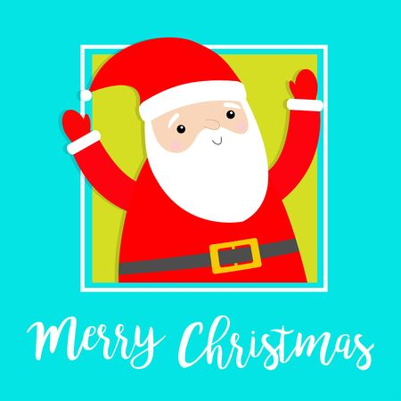 Merry Christmas. Santa Claus in the corner hands up. Costume, red hat, golden belt, beard. Cute cartoon kawaii funny baby character. Happy New Year. Greeting card. Flat design. Blue background. Vector  イラスト・ベクター素材