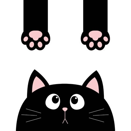 Black cat. Funny face head silhouette looking up. Hanging paw print, tail. Cute cartoon character. Kawaii animal. Baby card. Pet collection. Flat design style. White background. Isolated. Vector