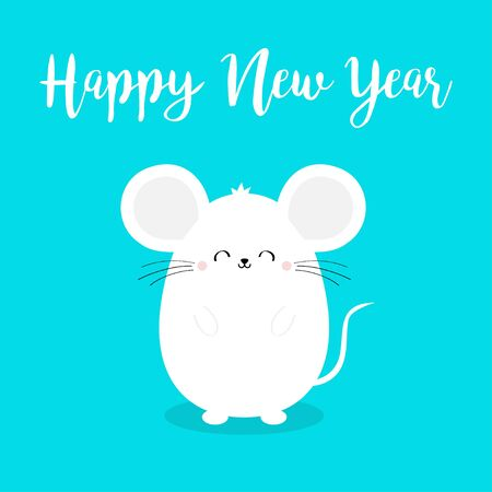 Cute mouse. Happy New Year 2020 sign symbol. Merry Christmas. Cartoon funny kawaii smiling baby character. Flat design. Blue winter background. Vector illustration  イラスト・ベクター素材
