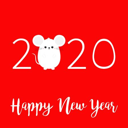 White mouse. Happy New Year 2020 sign symbol. Merry Christmas. Cute cartoon funny kawaii baby character. Flat design. Red winter background. Vector illustration