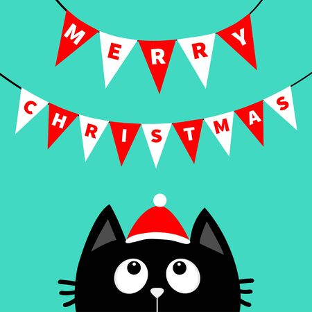 Merry Christmas. Black cat face head silhouette looking up to Bunting flags letters. Flag garland. Santa hat. Party decoration element. Hanging text on rope thread. Flat design. Blue background Vector