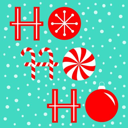 Ho ho ho text lettering banner. Candy Cane Merry Christmas ball bauble xmas decoration. Snowflake. Red white peppermint stick and circle. Flat design. Blue snow background. Vector illustration  イラスト・ベクター素材