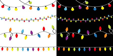 Christmas lights set. Four lightbulb glowing garland. Holiday festive xmas decoration. Colorful string fairy light Rainbow color. Flat design. Black and white background. Isolated. Vector illustrtion