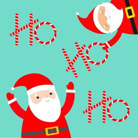 Merry Christmas. Santa Claus set holding ho ho ho candy cane text. Costume, red hat, golden belt, beard. Cute cartoon kawaii funny baby character. Happy New Year. Greeting card. Blue background Vector