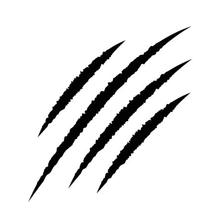 Garras sangrientas negras rasguño de animales raspa la pista. Gato gatito tigre rasca la pata. Rastro de cuatro uñas. Lindo elemento de diseño divertido. Diseño plano. Fondo blanco. Aislado. Ilustración vectorial