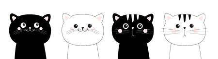 Black white cat head face line contour silhouette icon set. Pink blush cheeks. Funny kawaii smiling sad doodle animal. Cute cartoon funny character. Pet collection. Flat design Baby background. Vector Ilustração