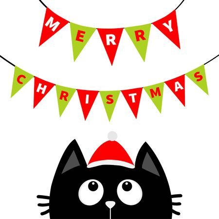 Black cat face head silhouette looking up to Bunting flags letters. Flag garland. Merry Christmas. Santa hat. Party decoration element. Hanging text on rope thread. Flat design White background Vector Stock fotó - 138095140