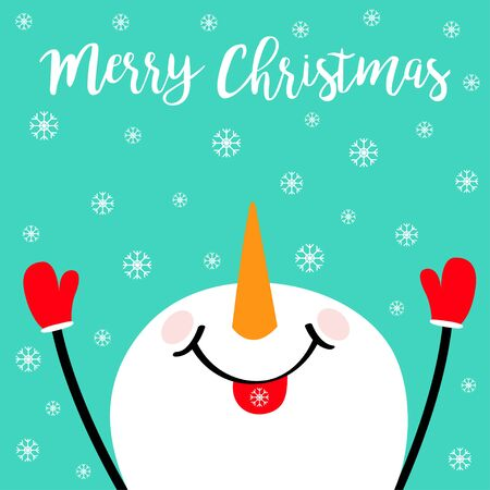 Merry Christmas. Snowman looking up, holding hands up, eating snow flake. Carrot nose. Happy New Year. Cute cartoon funny character. Greeting card. Blue winter background. Flat design. Vector