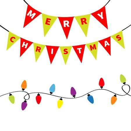 Christmas lights Bunting flags letters set. Holiday festive xmas decoration. Lightbulb glowing flag garland. Colorful string fairy light. Rainbow color. Flat design. White background. Isolated. Vector Stock fotó - 138095137