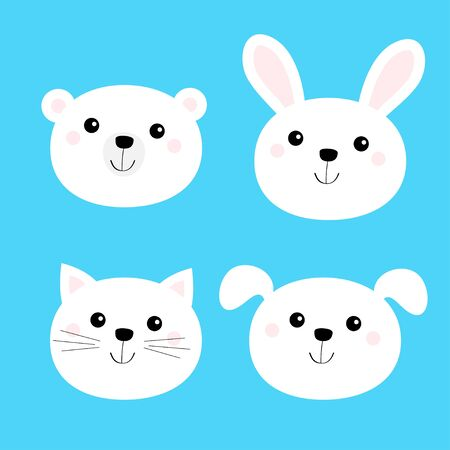 Cat kitten, bear, dog, rabbit hare. Animal head face round icon set. White color. Cute cartoon funny baby character. Flat design. Isolated. Blue background. Vector illustration