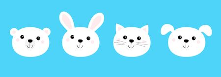 Bear, cat, dog, rabbit. Animal head face round icon set line. White color. Cute cartoon kawaii funny baby character. Flat design. Isolated. Blue background. Vector illustration