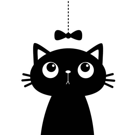 Cat head face looking at bow hanging on thread. Black silhouette sticker print. Cute cartoon funny character. Kawaii animal. Pet baby collection Kids greeting card. Flat design White background Vector