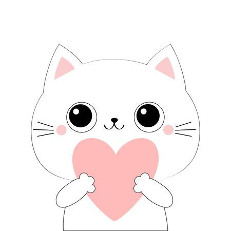 Cat kitten kitty head face holding big pink heart. Happy Valentines Day. Cute cartoon kawaii funny animal character. Flat design. Love card. White background. Isolated. Vector illustration