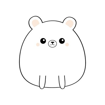 White bear face head body. Kawaii animal. Cute cartoon grizzly character. Black contour silhouette. Doodle linear sketch. Pink cheeks. Funny baby Love card Flat design White background Isolated Vector