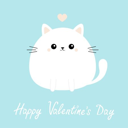 Happy Valentines Day. White cat kitten kitty icon. Funny head face. Cute kawaii cartoon round character. Pink heart. Baby greeting card template. Blue background. Flat design. Vector illustration