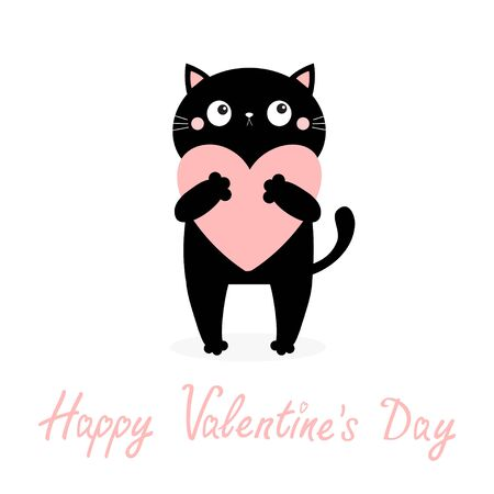 Happy Valentines Day. Black cat kitten kitty holding pink heart. Cute cartoon kawaii funny animal character. Flat design. Love card. White background. Isolated. Vector illustration 向量圖像