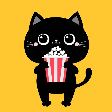 Black cat holding eating popcorn. Cinema theater. Cute cartoon kawaii funny character. Film show. Kitten watching movie. Yellow background. Isolated. Flat design Vector illustration 向量圖像