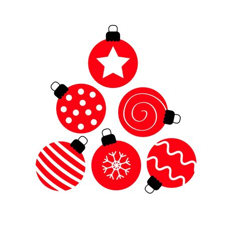 Merry Christmas ball set. Triangle tree shape. Cute round red and black bauble toy. Happy New Year sign symbol. Star, dot, zigzag pattern. Flat design. White background. Isolated. Vector illustration Illustration