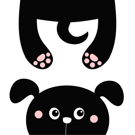 Black dog puppy. Funny face head silhouette looking up. Hanging fat body with paw print, tail. Cute cartoon character. Kawaii pet animal. Baby sticker print. Flat design. White background. Vector Vetores