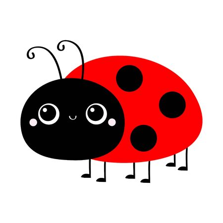 Ladybug Ladybird icon. Cute cartoon kawaii smiling baby animal character. Funny insect. Flat design. Isolated. White background. Vector illustration