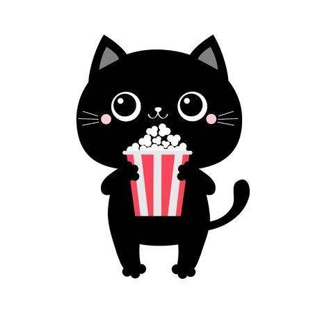 Black cat holding eating popcorn. Cinema theater. Cute cartoon kawaii funny baby character. Film show. Kitten watching movie. Flat design. White background. Ilustracja
