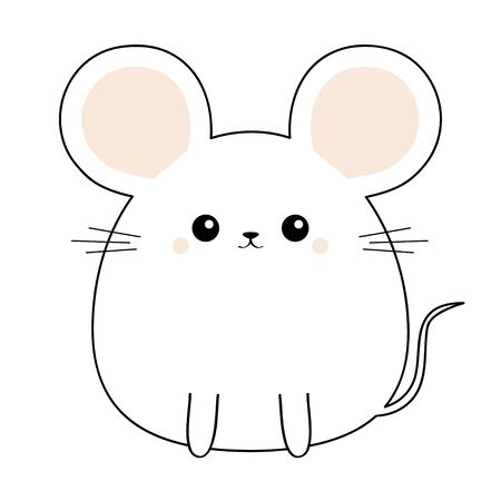 Mouse face head body. Kawaii animal. Cute cartoon funny baby character. Black contour silhouette. Doodle linear sketch. Pink cheeks. Love card Flat design White background Isolated Vector illustration  イラスト・ベクター素材