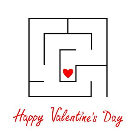 Happy Valentines Day. Labyrinth maze. Red heart sign symbol. Find your love concept. Intricacy. Flat design. White background. Vettoriali