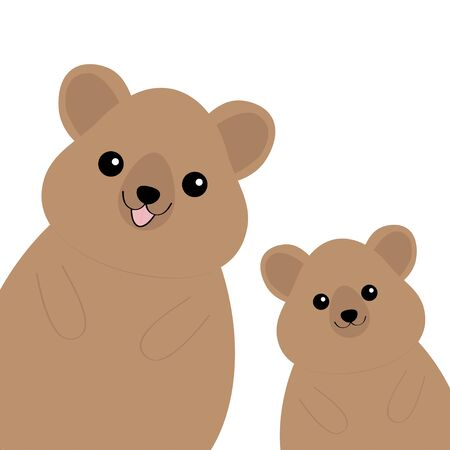 Two quokka head face silhouette family set. Pink blush cheeks. Funny kawaii smiling animal. Cute cartoon funny pet baby character.Happy Valentines Day. Flat design White background. Isolated. Vector Vector Illustration