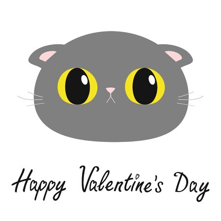 Happy Valentines Day. British Shorthair cat round head face icon. Cute funny cartoon character. Big yellow eyes. Sad emotion. Kitty Whisker Baby pet collection. White background. Flat design. Vector
